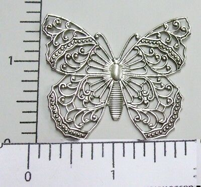 35254         Matte Silver Oxidized Large Filigree Butterfly Jewelry Finding