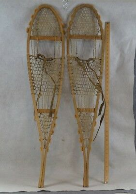 snowshoes Native American wool tassels  Huron style beaver Northeast antique