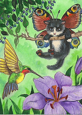 4x6 PRINT OF PAINTING RYTA ANGEL FAIRY TUXEDO CAT RAINBOW HUMMINGBIRD BUTTERFLY