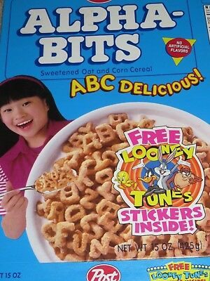 Vintage 1996 CEREAL BOX Post ALPHA-BITS Girl Cover Looney Tunes
