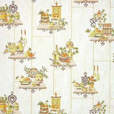 1960s Retro Kitchen Vintage Wallpaper Red and Green Fruit Veggies and Ivy