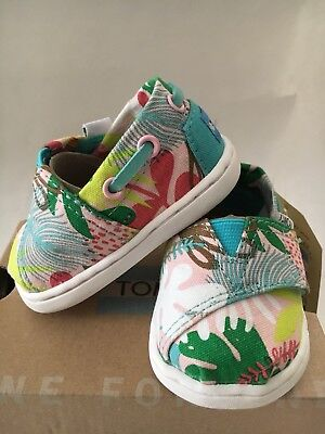 Tiny Toms Bimini Pink Tropical Palms Baby Shoes US Size 2, 3