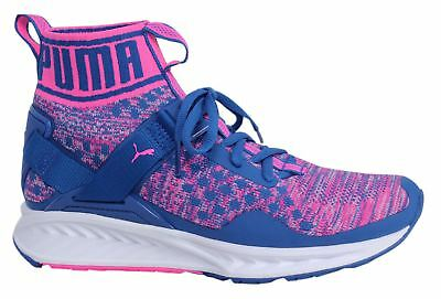 Puma Ignite evoKNIT Lace Up Blue Pink Textile Womens Trainers 189766 04 M10 633ec43e9