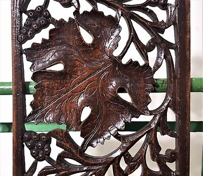 Grapes Lacework Lace Panel Antique French Hand Carved Wood Carving Sculpture 7