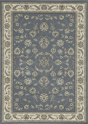 "2x8 Radici Blue Vines Scroll Petals Leaves Bordered 1596 - Aprx 2' 2"" x 7' 7"""