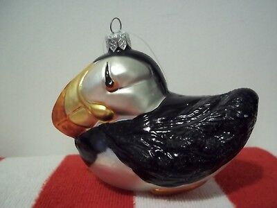 Atlantic Puffin Bird Blown Glass Ornament By Hanco Made In Poland -  Christmas