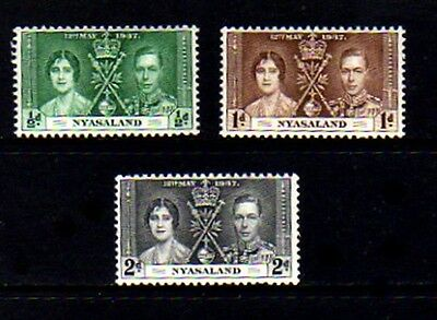 Nyasaland - 1937 - Kg Vi - Coronation Issue - Mint - Mnh Set Of 3!
