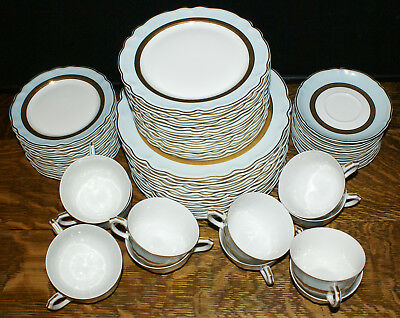 C. H. Field Haviland Limoges Edith Pascale Blue & Gold * 12 Settings 60 Pcs