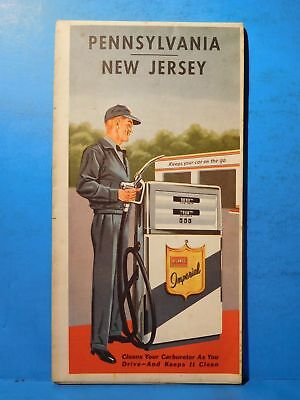 Map Pennsylvania and New Jersey State Road Map 1963 Atlantic Petroleum Ads