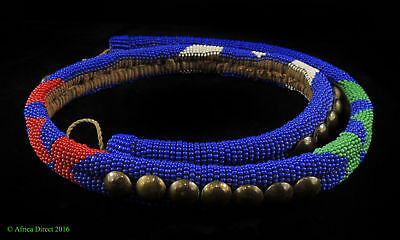 Zulu Beaded Rope Belt Blue South African Art