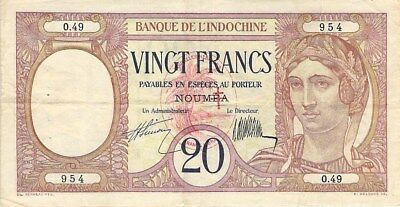 New Hebrides 20 Francs Note 1941 On New Caledonia #37 P-6 Rare
