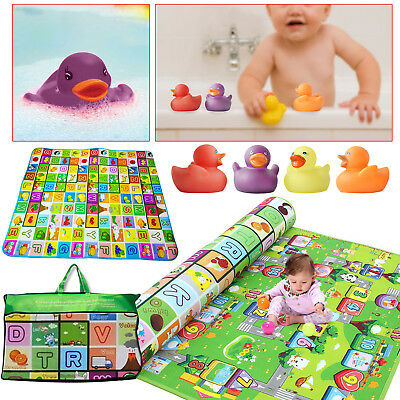 2 Side Baby Mat Kids Crawling Educational Play Soft Foam Baby Carpet & Ducks