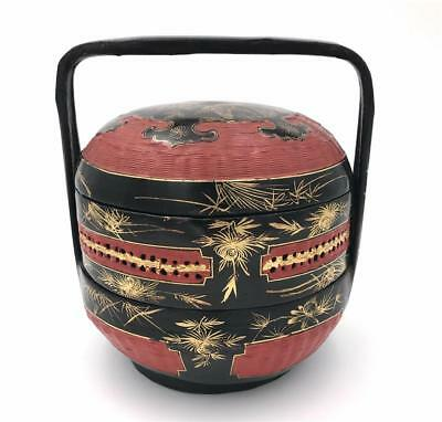 Red Black And Gold Chinese Lacquer 2 Tier Wood Bamboo Wedding Basket