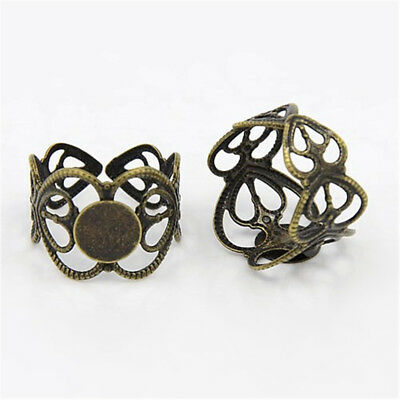 100x Antique Bronze Adjustable Brass Ring Shank Filigree Ring Base Findings 17mm