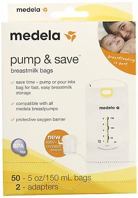 Medela Pump and Save Breast Milk Bags with Easy-Connect Adapter 50 Count NEW
