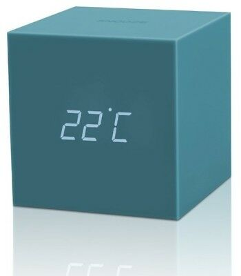 Gingko Gravity Cube Click Alarm Clock  LED TEAL Disp,Sound Activated GIFT ITEM