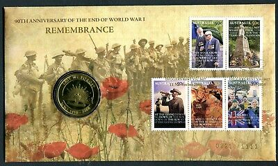 2008 Remembrance 50th Anniversary End of WWI FDC/PNC - Gold Foil PMKs 0921/1111