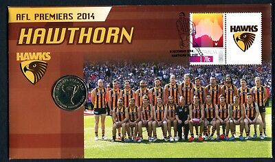 """2014 AFL Premiers """"Hawthorn Hawks"""" FDC/PNC With Commemorative $1 Coin 2612/5000"""