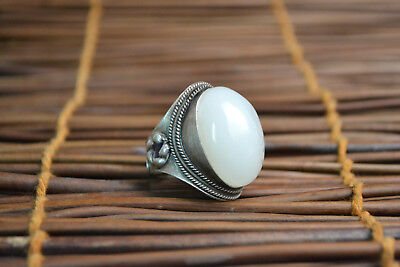 China Collectible old white jade Carve Flower Beauty Inlay adjustable NICE Ring