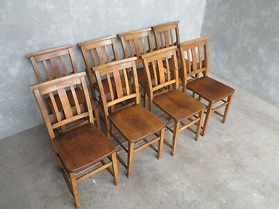 Set of 8 Church Chairs - Edwardian Chapel Chairs - Reclaimed Old Seats