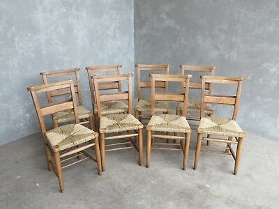 Set of 8 Rush Seated Church Chairs - Chapel Chairs - Reclaimed Old Seats