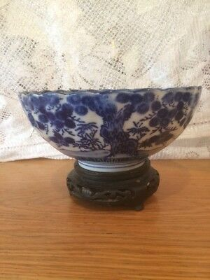 antique chinese porcelain blue & White Bowl With Circle Marks To   Base