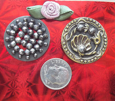 "lot, 2 large VICTORIAN CUT STEEL brass BUTTONS 1"" riveted ornate vintage antique"