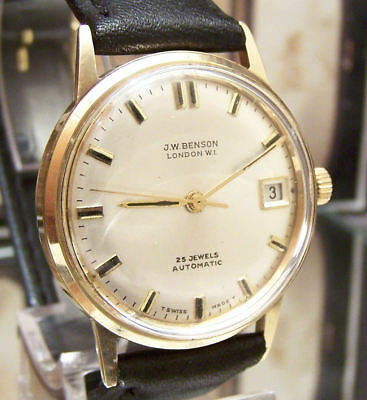1971 Antique Vintage Solid Gold J W Benson Minty Dial Auto V Rare Serviced Watch
