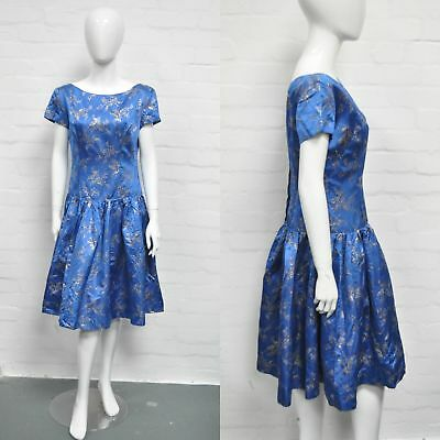 Vintage 50's Style Blue Gold Satin Dress 12 Evening Formal Prom Leavers Party