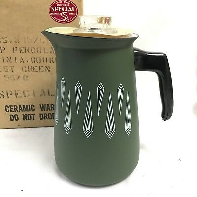 Vtg Unused Nos Mid Century Green Enameled 8 Cup Percolator Coffee Pot W Box Mcm