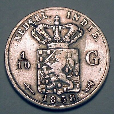 NETHERLANDS EAST INDIES 1/10 GULDEN 1858 Silver K1.4