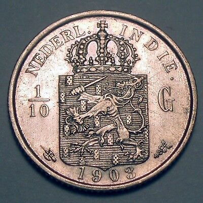 NETHERLANDS EAST INDIES 1/10 GULDEN 1903 Silver K1.4