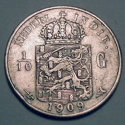 NETHERLANDS EAST INDIES 1/10 GULDEN 1909 Silver K1.4