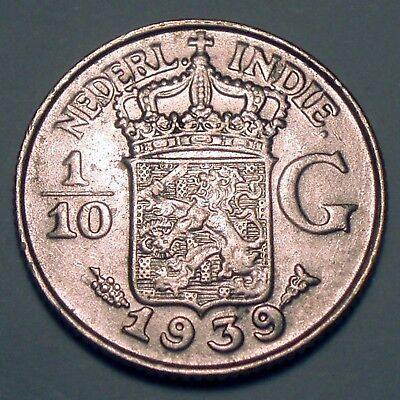 NETHERLANDS EAST INDIES 1/10 GULDEN 1939 Silver K1.5