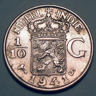 NETHERLANDS EAST INDIES 1/10 GULDEN 1941 S San Francisco Mint, Silver K1.5