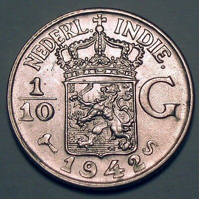 NETHERLANDS EAST INDIES 1/10 GULDEN 1942 S San Francisco Mint, Silver K1.5