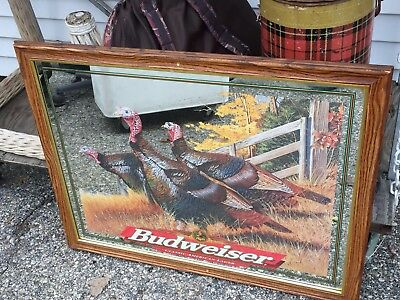 Large Glass Budweiser Bud Beer Fall Turkey Hunting Rare Limited Edition Mirror