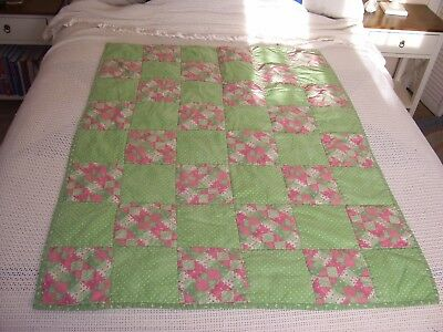 "BABY QUILT/44 by 35""/Green & Pink/Homemade"