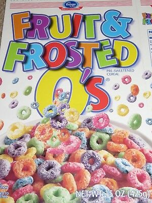 Vintage 1998 CEREAL BOX Kroger Grocery FRUIT & FROSTED O'S Colorful on White