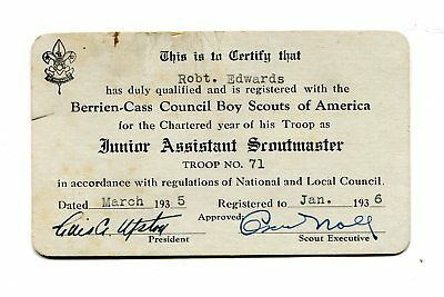 Vintage BSA BOY SCOUTS ID Card JUNIOR ASSISTANT SCOUTMASTER 1936 Troop 71