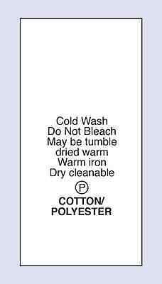 Cotton /Polyester Cold Machine Wash Sewing Washing Care Labels 5 Pack Sizes