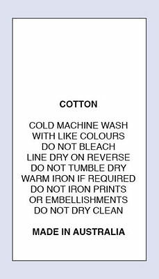 Cotton Cold Machine Wash Do Not iron Print Sewing Washing Care Label 5 Pack Size