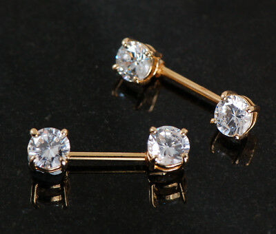 a34b155a5d6cd3 Pair of Front Facing 14K Gold Plated CZ Barbell Nipple Rings Piercing  Jewelry