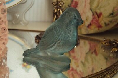 Vintage Spring Small Frosted Blue Glass Bird Figurine Use/Crafts