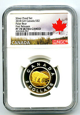2018 Canada $2 Gilt Silver Proof Polar Bear Toonie Ngc Pf70 Ucam First Releases