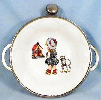 Vintage Baby Warming Dish Little Girl Lamb School House Pottery Bowl Metal Base