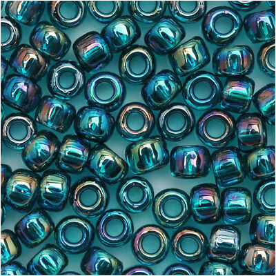Toho Round Seed Beads 6/0 #167Bd Trans Rainbow Teal 8Gr