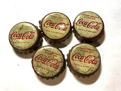 A Lot of Five Old Used Cork Lined Coca Cola Soda Pop Caps