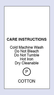Cotton Cold Machine Wash Sewing Washing Care Labels 5 Pack Sizes