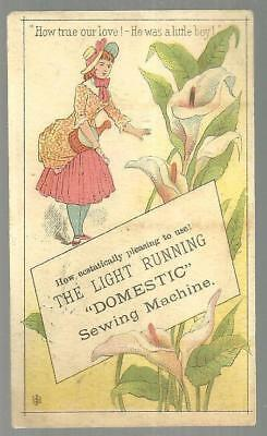 Victorian Trade Card for Domestic Sewing Machine with Lovely Lady and True Love
